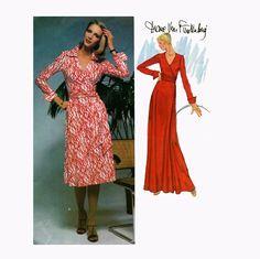 1970s Vogue Diane von Furstenberg WRAP DRESS Pattern Maxi Dress American Designer Vogue 1549 UNCuT Vintage Women's Sewing Patterns at DesignRewindFashions on Etsy