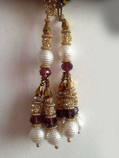 1 X Paire Latkan Antique Or Rouge Silk Tassel Cristal Dangles Crafts Sewon Trim
