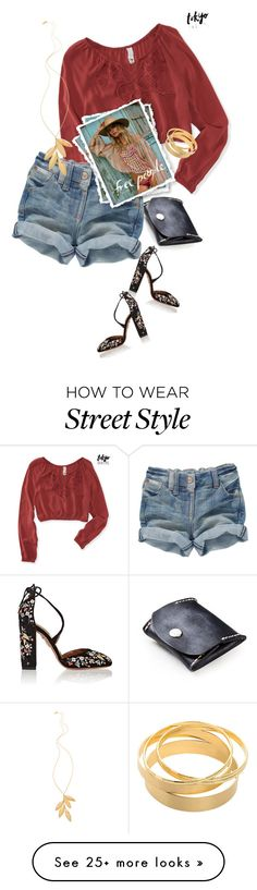 """Street  style"" by janemichaud-ipod on Polyvore featuring Aéropostale, Aquazzura and Gorjana"