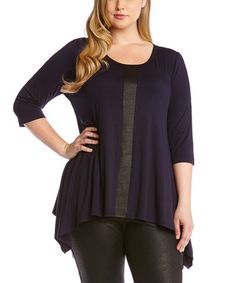 b0a14b405f1 Karen Kane Navy   Black Stripe Sidetail Top - Plus. Curvy FashionPlus Size  ...