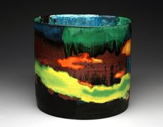 """Cylinder (View 1) 2012 earthenware, slips, glaze, china paint 10.5"""" h x 11.5"""" w x 11.5""""d Lauren Mabry"""