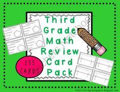 Third Grade Math Review Cards from Third Grade Galore on TeachersNotebook.com (143 pages)  - 133 math cards to review third grade math skills.