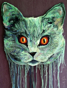 crochet art cat by Wilma Poot