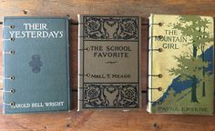 Journals made from vintage book covers. Coptic stitch binding.