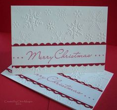 CAS. Snowflake embossing folder. Scallop punches. White & Red.