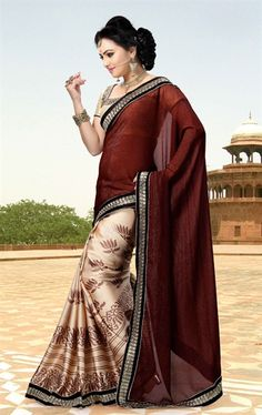 Picture of Admirable Coffee and Cream Indian Saree