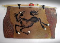 Year of the Horse textured wall tile with bamboo hanger and coin detail by Tracie Griffith Tso of Reston, Va. of the horse Animal Symbolism, Year Of The Horse, Antique Coins, Lunar New, Chinese Painting, Silk Painting, Wall Tiles, Stoneware, Hanger
