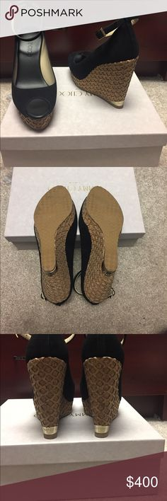 Authentic Jimmy Choo suede sandals Authentic , Amazing wedge sandals !!!!! Jimmy Choo suede sandal with gold hardware.  Worn only once for a few hours inside my house.  Perfect condition. Includes box and dust bag . Jimmy Choo Shoes Wedges