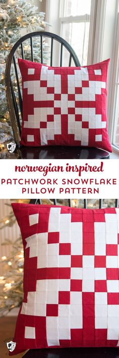 Free sewing pattern for a patchwork Norwegian knit wear inspired snowflake pattern
