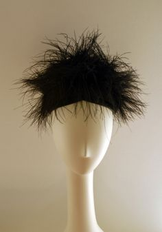 Schiaparelli Black Marabou Feathers with Black Satin Bow in Back