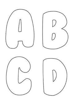 ABC - Letras do alfabeto para imprimir: 60 moldes do alfabeto lindos para baixar #abc - Como Faço Alphabet Letter Templates, Letter Stencils, Printable Letters, Letter Patterns, Free Kids Coloring Pages, Coloring Pages For Kids, Letras Abcd, Felt Keyring, Felt Crafts Patterns