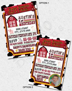 Barnyard, Farm Animal Theme Invitations