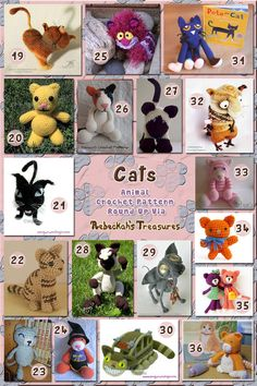 Cats Part 2b - Fancy Kitty Toys   Animal Crochet Pattern Round Up via @beckastreasures