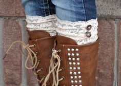 Lace Boot Cuffs  Faux Lace Boot Socks  Faux Lace by RLeeCouture, $14.95