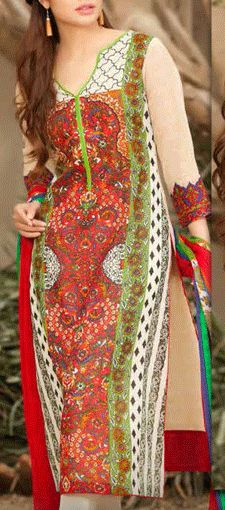 Buy Red/Off-White Printed Swiss Voile Dress by Charizma Lawn Spring 2015 Collection.
