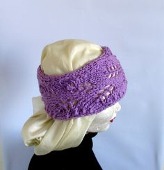 Lacefield Lace Knit Boho Headband Lilac Pink by recyclingroom, $18.00