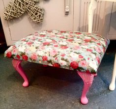 Upholstered Floral Foot Stall by Stables Home and Garden
