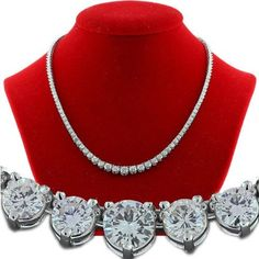 8.00 ct Natural Round Diamond 14k White gold Wedding String