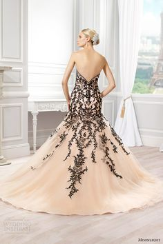 moonlight couture bridal spring 2015 style h1272 strapless colored mermaid wedding dress peach black lace appliques back