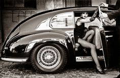 vintage car and sexy girl http:www.turrifftyres.co.uk