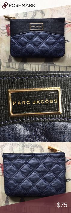 "Marc Jacobs Baroque Single Navy Pouch Rare Authentic Marc Jacobs Baroque Single Navy Pouch. Double stitched quilted lambskin leather with gold tone hardware and zip top. Logo plate on front, stitched inside and on zipper. Convenient as a makeup holder, wallet, or overall catch-all in your purse.  Approx. 7""L x .5""W x 5""D.   ⭐️ Bundle & Save, Posh Rules Only ⭐️ All Offers Accepted or Countered Marc Jacobs Bags Clutches & Wristlets"