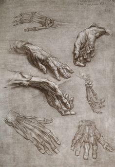 Desenho e Pinturas da Academia de São Petersburgo, hand study drawings