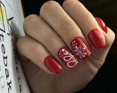 40 Most Popular Winter Nail Art Design Ideas for Christmas Nail art for Christmas - Nail Designs Xmas Nails, Red Nails, Red And White Nails, Xmas Nail Art, Valentine Nails, Halloween Nails, Winter Nail Art, Winter Nails, Spring Nails