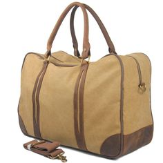 732350a7b313 Vintage Canvas Leather Travel Duffle Bag Weekend Overnight Bag AF31