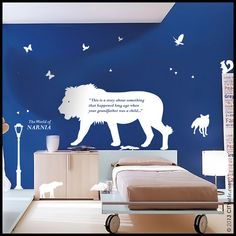 NARNIA WALL DECAL : Aslan Lion along with lamp post, fox, birds, falcon, elephant and Book's first line, decor, sticker, vinyl