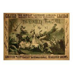 Vintage Circus Poster, Great London Circus