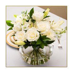 6 Fresh Flower Centerpieces White