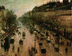 Boulevard Montmartre on a Winter Morning // PISSARRO, Camille (b. 1830, St Thomas, Virgin Islands, d. 1903, Paris)
