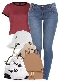 A fashion look from September 2015 featuring NIKE athletic shoes, MICHAEL Michael Kors backpacks and Casetify tech accessories. Browse and shop related looks. Swag Outfits, Dope Outfits, School Outfits, Fall Outfits, Summer Outfits, Casual Outfits, Fashion Outfits, Womens Fashion, Fashion Trends