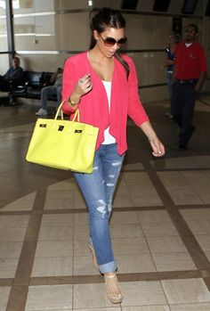 Spotted Kim's yellow Birkin Bag