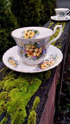 Royal Albert Summertime Series Teacup and Saucer Set/Bone China/Mad Hatter Tea Party Decor/Tea cup/Gift/Garden Tea Party/Tea Time/Yellow Tea