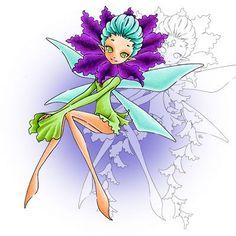 Sitting Floral Fairy Digi Stamp in Digital images