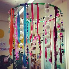 I am in love with my new sensory object that I have made today. I have  hung it in my communication area! I've used a hoop as the base and lots of material that is from the scrap store. Along with lots of different coloured beads ♡