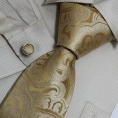 Gold Pattern Men Ties Silver-Right shirt, right jacket/vest...This would be gorg.