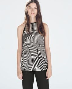 ZARA - SALE - PRINTED TOP WITH CONTRAST PIPING 29.99
