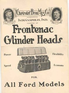 frontenac head | ad courtesy of M. Desantis) Vintage Auto, Vintage Cars, Chevy, Chevrolet, Race Engines, Auto Accessories, Kustom Kulture, Ford Models, Motor Car