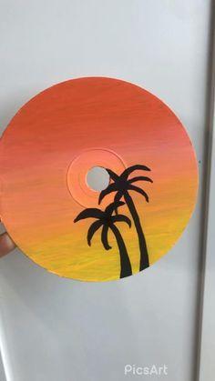 Cd Wall Art, Cd Art, Vinyl Record Art, Vinyl Art, Simple Canvas Paintings, Canvas Painting Sunset, Cd Crafts, Mini Canvas Art, Sunset Art