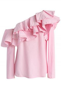 Swanky One-shoulder Ruffle Top in Pink