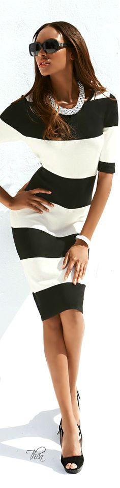 Wide stripe dress in black and white