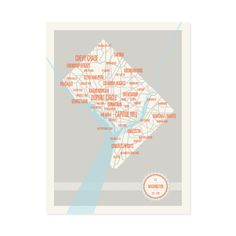 Washington DC Neighborhoods Map Print