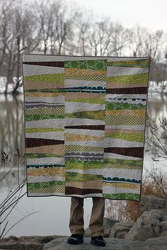 "Beautiful stack and whack baby quilt from @Sara Peterson at  Knottygnome Crafts ""The quilting is a flame-ish stipple, similar to the orange block. I used #aurifil thread 50-wt in white.""    To read more visit http://blog.knottygnome.com/2013/01/the-quilt-that-led-to-all-thumb.html"
