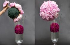 cover the oasis ball in pink peonies