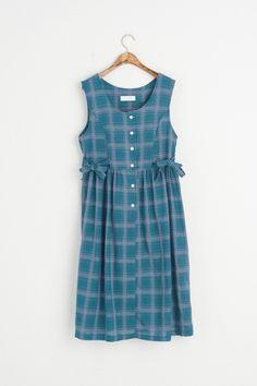 Check Summer Long Dress, Teal