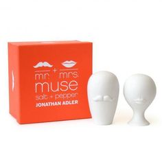 Porcelain Mr & Mrs Muse Salt & Pepper Shakers. Looking for a great off-the-registry gift? This Mr. and Mrs. salt and pepper shaker set is always a hit!