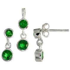 Sterling Silver Dangle Earrings (13mm tall) & Pendant (17mm tall) Set, w/ Bezel Set Brilliant Cut Emerald-colored CZ Stones Sabrina Silver. $41.63