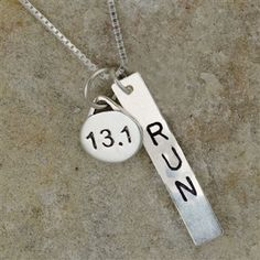 Accomplish finishing a 13.1 half marathon race?  We paired our handmade, hand stamped, sterling silver run pendant with our sterling silver 13.1 charm to create a truly unique running necklace.